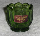Vtg Emerald Green Toothpick Holder LE Smith Heritage Glass Daisy