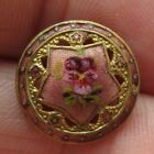 Darling Small Antique French Champleve Pierced ENAMEL BUTTON Pansy Flower (X1)