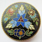 Stunning LARGE Antique~ Vtg ENAMEL BUTTON w/ Vibrant Colored Floral Design (H3)