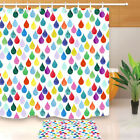 Rainbow Drops Fabric Shower Curtain Set Hooks or Bath Mat Polyester Decor 72x72