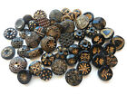 Variety Lot Sets Antique Vintage Black Glass Buttons with Gold Accents