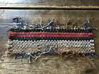 Early Antique Hand Made Candle Mat Table Rug Reds Country Colors AAFA Textile
