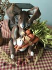 Primitive* Hand-crafted* Grubby*Large Bunny w/Carrots* shelf Sitter* Easter
