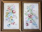 Two Beautiful American Folk Art Floral Flowers Theorems Velvet Paintings Signed