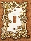Vintage 1967 Amer Tack White Washed Cast Metal Single Toggle Wall Switch Plate