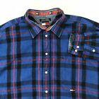 Vintage Tommy Hilfiger Jeans Mens Long Sleeve Button Plaid Shirt Blue Red XL