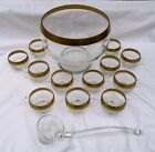 RARE DOROTHY THORPE GOLDEN BAND PUNCH BOWL WITH LADLE AND 36 CUPS