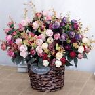 21Heads Artificial Silk Rose Flowers Bouquet Fake Leaves Wedding Home Decoration