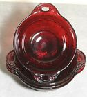 4 Anchor Hocking Depression Glass Coronation Royal Ruby Red Berry Dessert Bowl