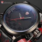 Shark Men's Digital LED Date Day Leather Dual Time Army Quartz Sport Watch Cool