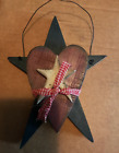 Blue wood star Red Heart country Rustic Primitive Vintage Decor Sign