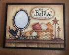 HOT BATHS Crow  Star berries wooden Bathroom powder room country decor sign