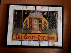GREAT OUTDOORS country primitive OUTHOUSE lodge moon bathroom 10x13