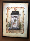 WELCOME WHITE OUTHOUSE country primitive  bathroom decor 10x13