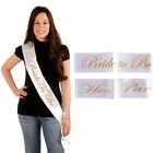 White  Gold Bride to be Sash Girls Hen Night Bachelorette Bridal Shower Party