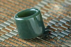 Exquisite Natural hetian jade carved symbol BanZhi exalted atmosphere Thumb ring
