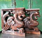 PAIR GOTHIC GRIFFIN CORBEL BRACKET ANTIQUE FRENCH HAND CARVED WOOD SCULPTURE