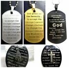 English Scripture God Serenity Prayer Stainless Pendant Necklace Dog Tag Cross