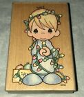 Stampendous PRECIOUS MOMENTS Rubber Stamp HOLIDAY Boy Tangled in Xmas Lights