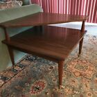 Mid Century Modern 2 Tier Corner End Table Formica Top Side Table Vtg Peg Leg