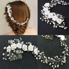 Flower Wedding Hair Pins Bridesmaid Rhinestones Pearl Bridal Clips Comb Exotic