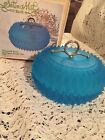 Indiana Glass Satin Mist Blue Diamond Point Boutique Candy Box Trinket