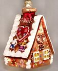 Gingerbread House Polish Mouth Blown Glass Christmas Tree Ornament Decoration