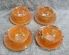 Set 4 Vintage Fire King Glas Peach Luster Laurel Old Cup and Saucer Sets FREE SH