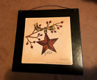 FAITH red burgundy pip berries rustic metal barn star inspirational wooden sign