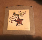 FAITH 7x7 red burgundy pip berries metal barn star inspirational wood sign tan