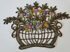 ANTIQUE TRIM- CIRCA 1880-1900,EXQUISITE METALLIC BASKET  W/RIBBON ROSETTES