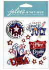 Jolees Boutique 3D Dimensional Stickers Patriotic Words July 4th USA