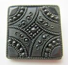 Truly Exquisite Victorian Lacy Pressed Black GLASS BUTTON Square Shape (E18)
