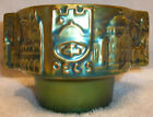 Zsolnay Pecs Hungary Iridescent Eosin Green Embossed City Town View Small Bowl