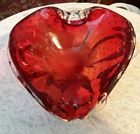 Vtg Murano Art Glass Heart Shape BOWL RED ITALY Venetian Controlled Bubbles