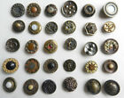 Variety Lot  of 30 Antique Victorian Fancy Metal Buttons Cut Steel