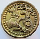 Excellent X LARGE Antique Metal Picture BUTTON Deer Elk Knight Armour (V13)