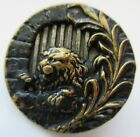 Scarce LARGE Antique Victorian Metal Picture BUTTON Caged Lion 1- 1/4