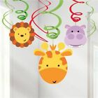 6 Animal Friends Zoo Party Hanging Decorations Swirls Birthday Party Boys Girls