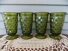 Set of 4 Vintage Indiana Green Glass Footed Whitehall Cubist Drinking Tumblers