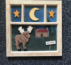 Wood Frame MOOSE Cabin 3D country Primitive Lodge Lake wooden wall decor sign