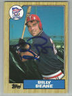 BILLY BEANE Signed 1987 Topps AUTOGRAPH #114