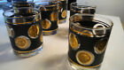 Set 6 Libbey Glass Gold Coin Barware Low ball Glasses Retro MCM Mid century EUC