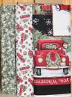 Christmas Red Truck Panel  Pine Truck Fabric Susan Winget SOLD SEPARATELY