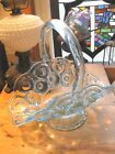 Moon and Stars Vintage Smith Clear Blue Glass Basket 8 3/4