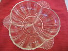 Vintage CLEAR GLASS RELISH CANDY DISH RIBBED 3 partitions RAISED DESIGN  HANDLES