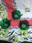 3 Anchor Hocking Charm Glass Forest Green CUP Fire-King 1950's Christmas Decor