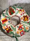 Vintage Handmade Crewel Embroidery Christmas Wreath Finished Pillow