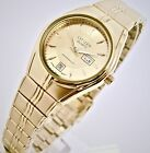 Retro citizen ladies watch gold tone gold dial day & date .