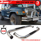 Fits 97 06 Jeep Wrangler TJ YJ 3 inch Round S S Side Steps Running Boards